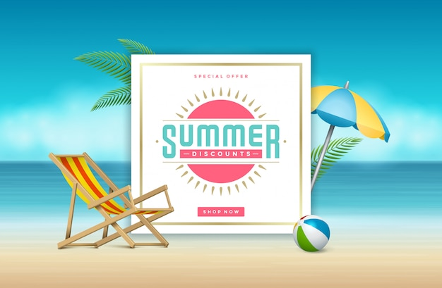 Summer sale banner online shopping on beach.