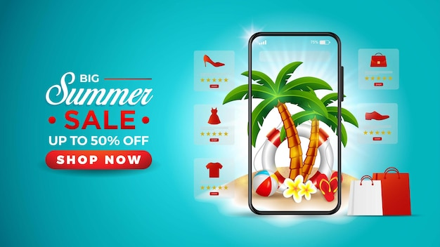 Summer sale banner online with smartphone and exotic palm trees free