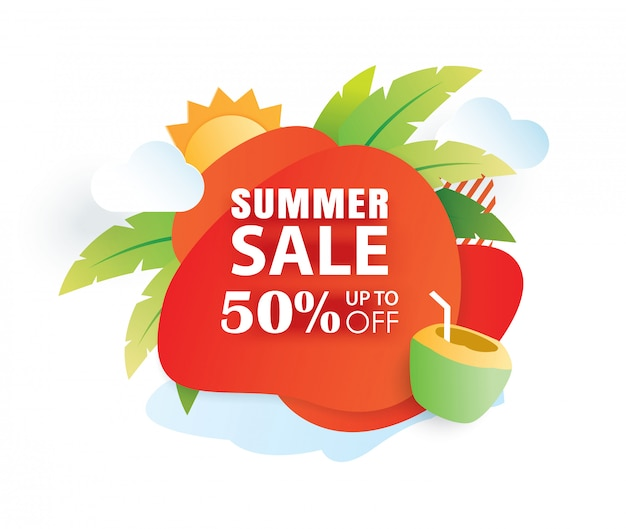Summer sale banner paper cut template