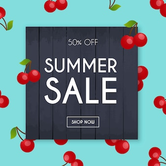 Summer sale banner. poster, flyer, . cherry on a background
