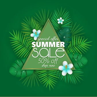 Summer sale banner, poster template with palm leaves and jungle leaf .