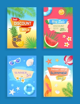 Summer sale banner promotion leaflet set