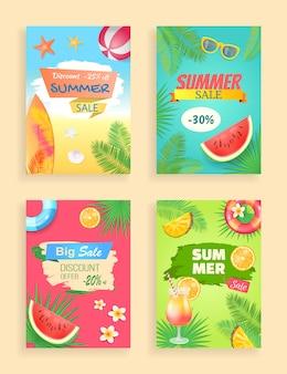 Summer sale banner promotion leaflet set