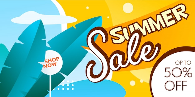 Summer sale banner promotion with banana leaves and sky