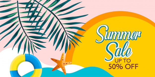 Summer sale banner promotion with palm leaf and beach