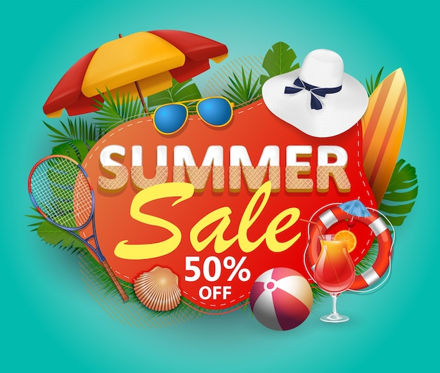Summer sale  banner  for promotion with palm leaves and colorful beach elements