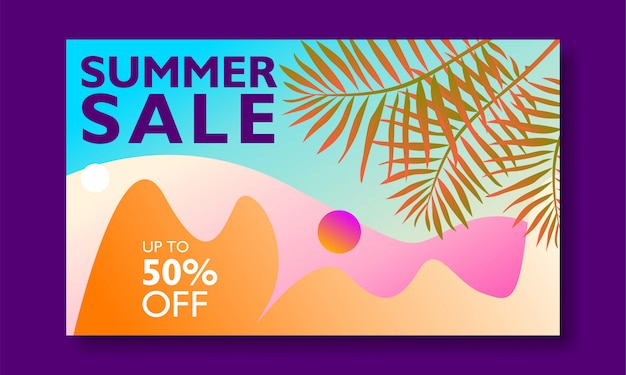 Summer sale banner promotion with palm leaves and landscape