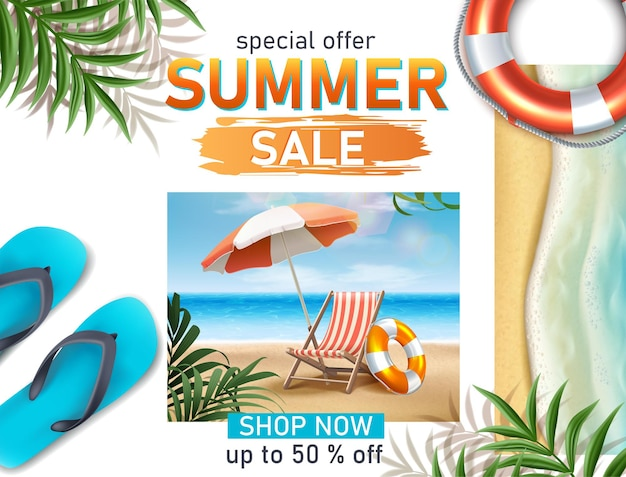 Summer sale banner  realistic template with diving mask sunbed and sea Free Vector