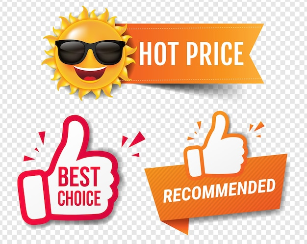 Summer sale banner recommended with thumbs up transparent background
