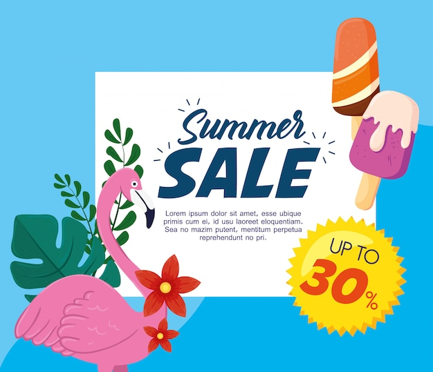 夏のセールのバナー、フランダースとアイスクリームのシーズン割引ポスター、30%までのラベルでのショッピングへの招待、特別オファーカード