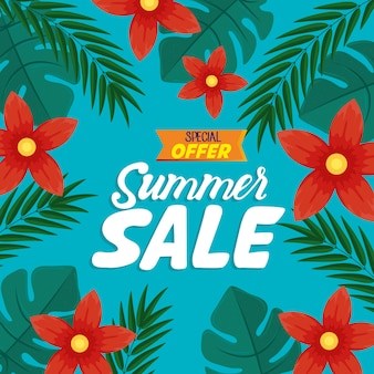 Summer sale banner, season discount poster with flowers and tropical leaves, invitation for shopping with summer sale special offer label