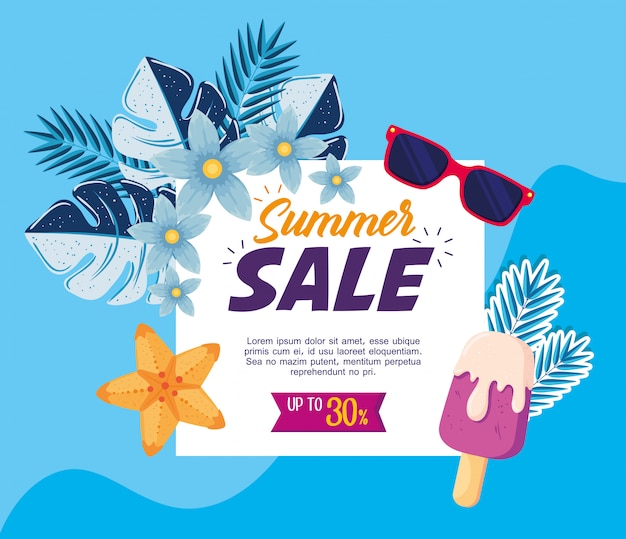 Summer sale banner, season discount poster with sunglasses, tropical leaves and ice cream, invitation for shopping with up to thirty percent label