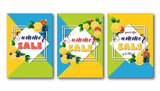 Summer sale banner set with bright colorful fruits on geometric green, blue and yellow.