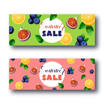 Summer sale banner set with bright colorful fruits