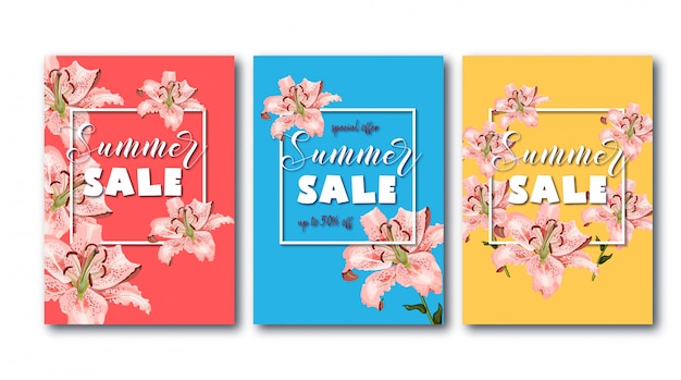 Summer sale banner set with coral oriental lily flowers, white square frame and promo text.