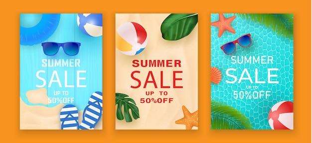 割引テキストと夏の要素が設定された夏のセールバナー。