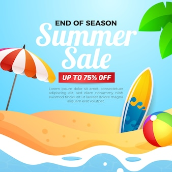 Summer sale banner social media template
