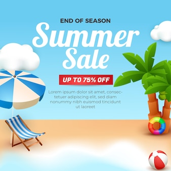 Summer sale banner socila media template end of season with 3d element beach background illustration