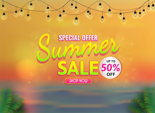 Summer sale banner, special offer up to 50% off.