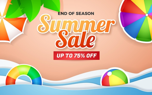 Summer sale banner special offer with beautifull beach background paper cut style