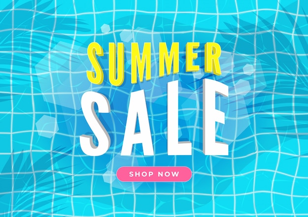 Summer sale banner. swimming pool with palm leaves.
