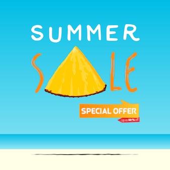 Летняя распродажа баннер шаблон дизайна. ломтик ананаса в плоском стиле. летняя распродажа типографии на море.