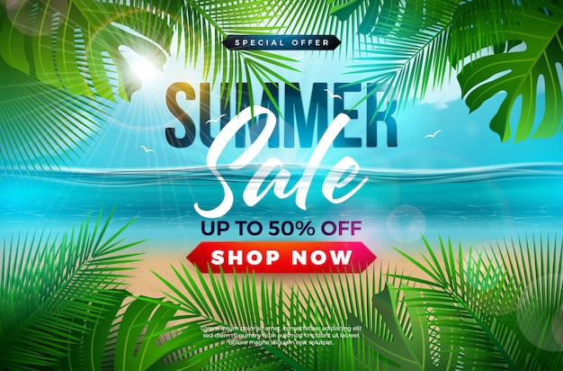 Summer sale banner template design with palm leaves and blue ocean landscape