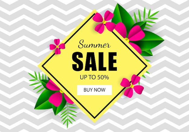 Summer sale banner template flowers. zig zag