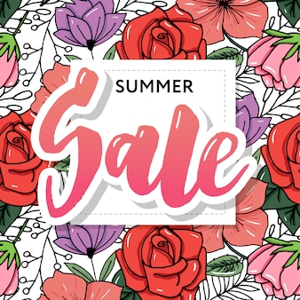 Summer sale banner template. hand drawn lettering.