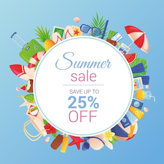 Летняя распродажа баннер шаблон горячая скидка концепция тропического туризма в мультяшном стиле