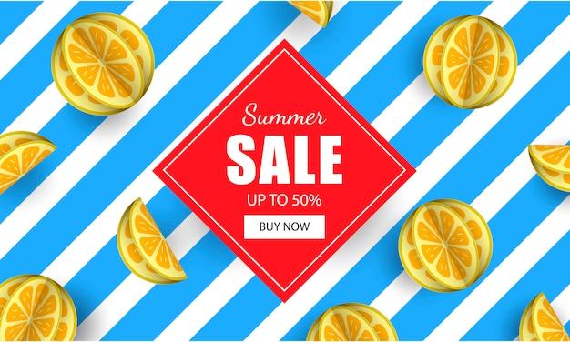 Summer sale banner template lemons