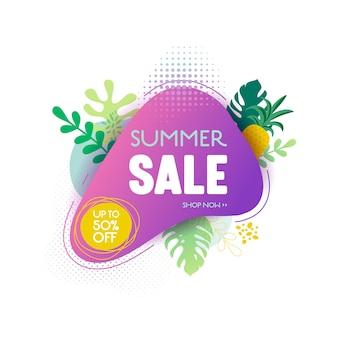 여름 판매 배너 템플릿입니다. 열대 잎, 열대 배경 및 배경이 있는 액체 추상 기하학적 거품, 계절별 제안, 판촉, 광고를 위한 프로모션 배지. 벡터 일러스트 레이 션