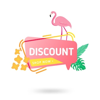 Summer sale banner template. liquid abstract geometric speech bubble with tropic flowers and flamingo, tropical backdrop, promo badge for seasonal offer, promotion, advertising. vector illustration