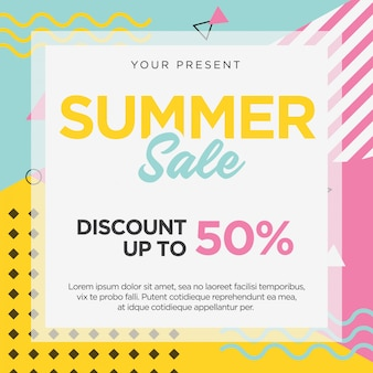 Summer sale banner template memphis retro design