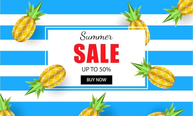 Summer sale banner template pineapples