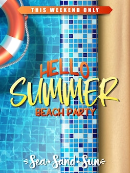 Summer sale banner template pool party with inflatable ring in the water