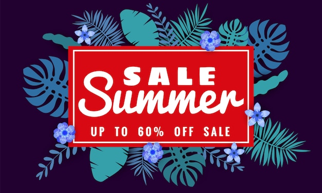 Summer sale banner template for seasonal sales with tropical leaves flowers