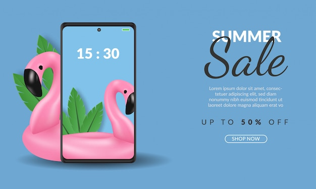 Summer sale banner template on smartphone online shopping with flamingo illustration on blue background, premium
