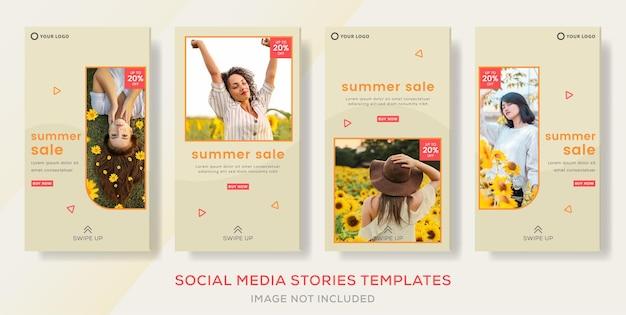 Летняя распродажа баннер шаблон рассказов пост для социальных сетей премиум