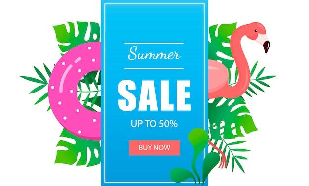 Летняя распродажа баннер шаблон тропических листьев, фламинго