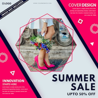 Summer sale banner template. up to 50% off.