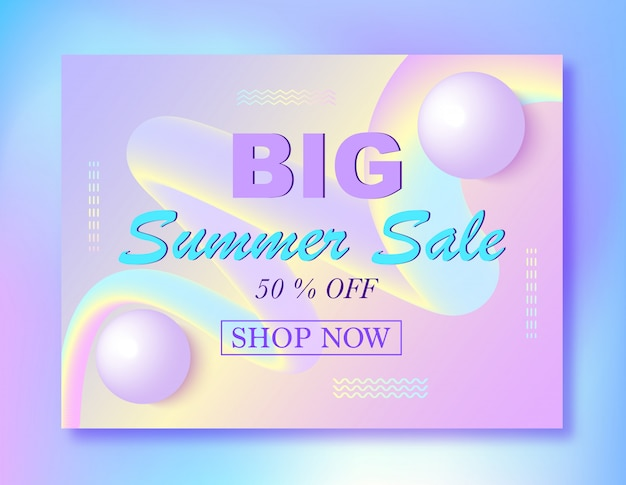Summer sale banner template with 3d balls