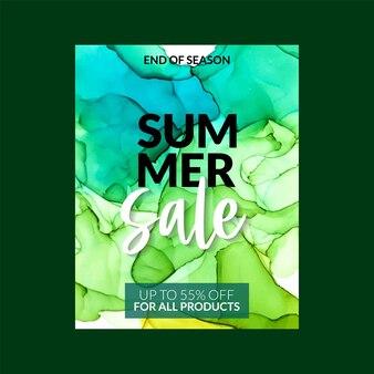 Летняя распродажа баннер шаблон с алкогольными чернилами
