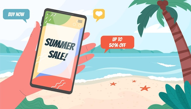 Шаблон баннера летней распродажи с пляжным пейзажем и смартфоном
