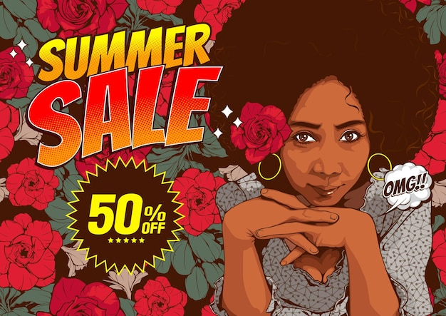 Summer sale banner template with beautiful african american women staring and smiling.
