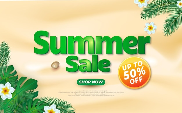 Summer sale banner template with flower and exotic palm leaves