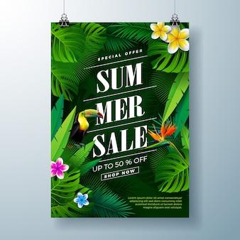 Летняя распродажа баннер шаблон с цветами, птицей тукан и экзотическими листьями
