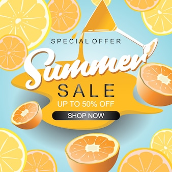 Summer sale banner template with lemon juice decoration