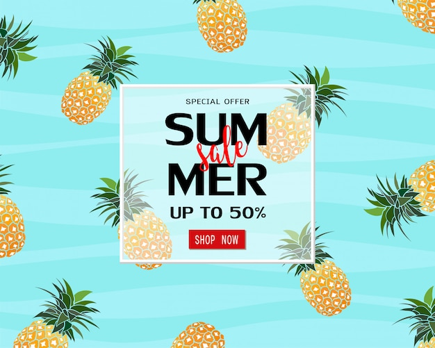 Summer sale banner template with pineapple