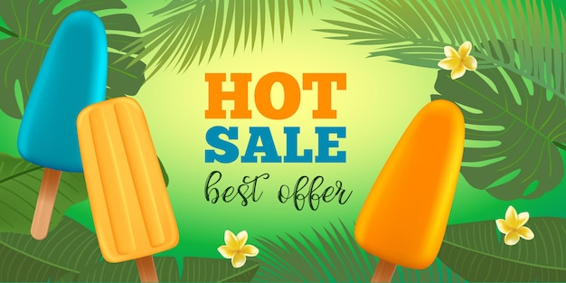 Summer sale banner template with popsicle ice cream frangipani flower and palm leaves typography bad...